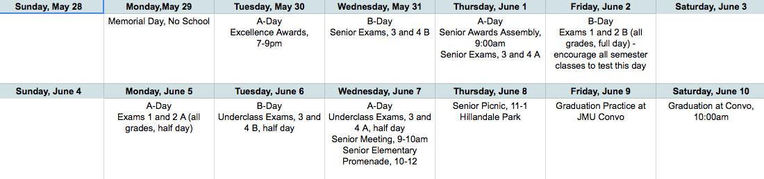 The+Harrisonburg+High+School+exam+schedule
