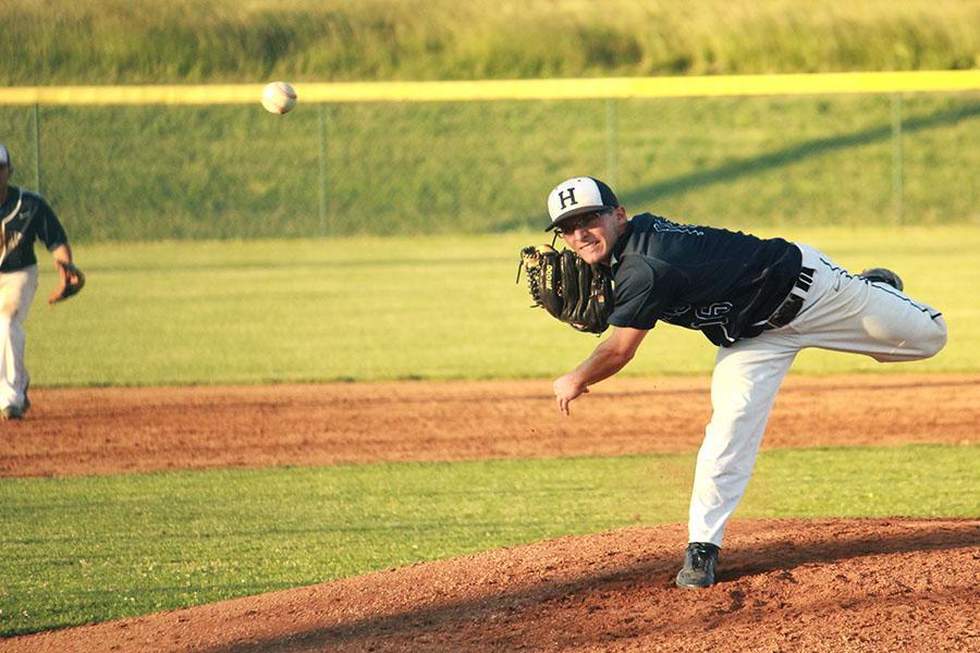 Sophomore+Owen+Stewart+starts+as+pitcher.