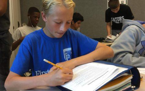 Eighth grader takes high school level math