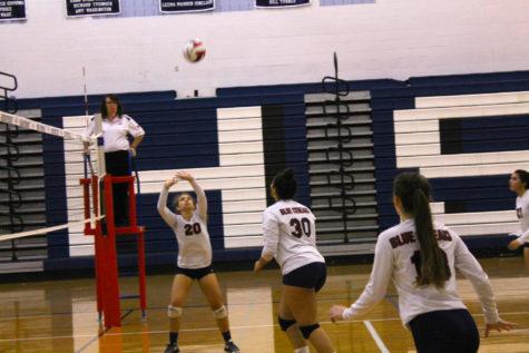 Varsity volleyball team post Waynesboro victory