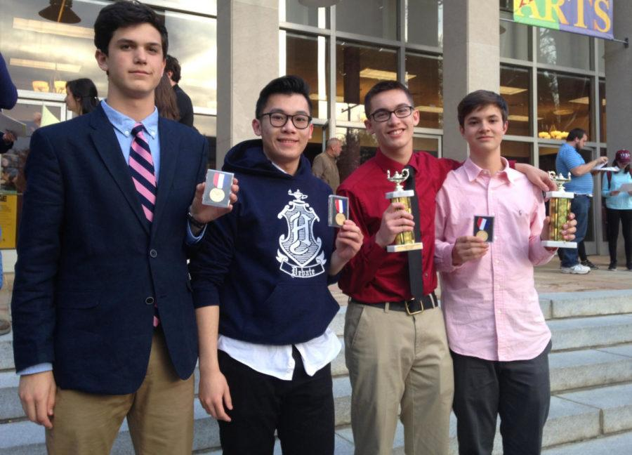 (Left to Right) Ritt Culbreth, Phillip Duong, William Daniel and Sam Heie hold their medals from the competition.