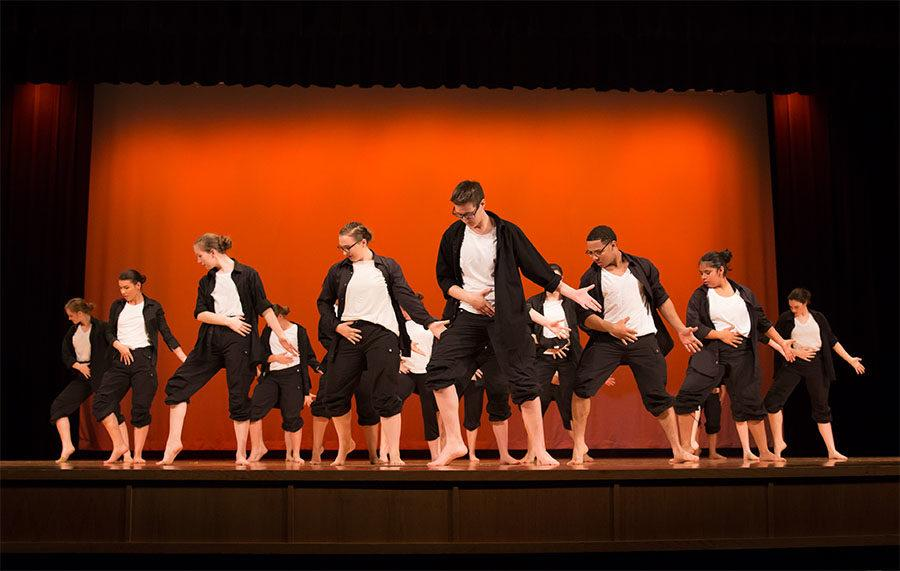 HHS+dancers+posing+for+their+final+piece+of+the+night%2C+Michael+Jackson+Medley.+