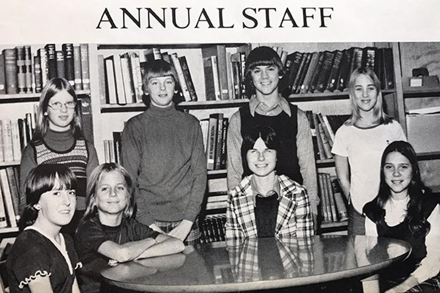 Mary Inge (second from right, bottom row) has been teaching for 27 years. This photo was taken out of technology teacher Diana Flick's seventh grade yearbook.
